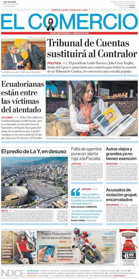 Portada Viernes 18 de Enero El Comercio  Ecuador ...