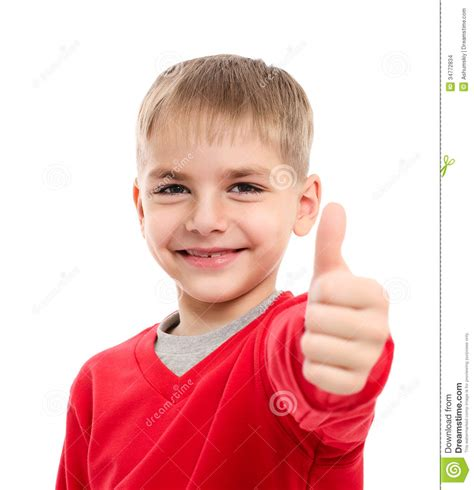 Portrait Of Happy Boy Showing Thumbs Up Gesture Stock ...