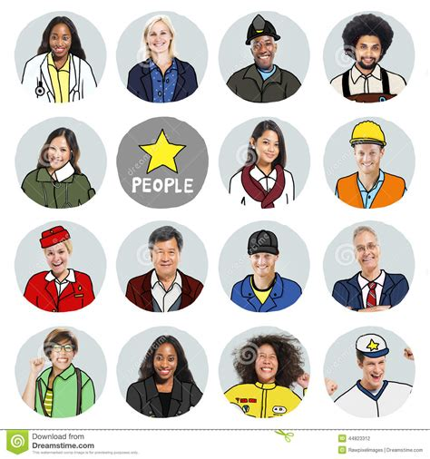 Portraits Of Diverse People With Different Jobs Stock ...