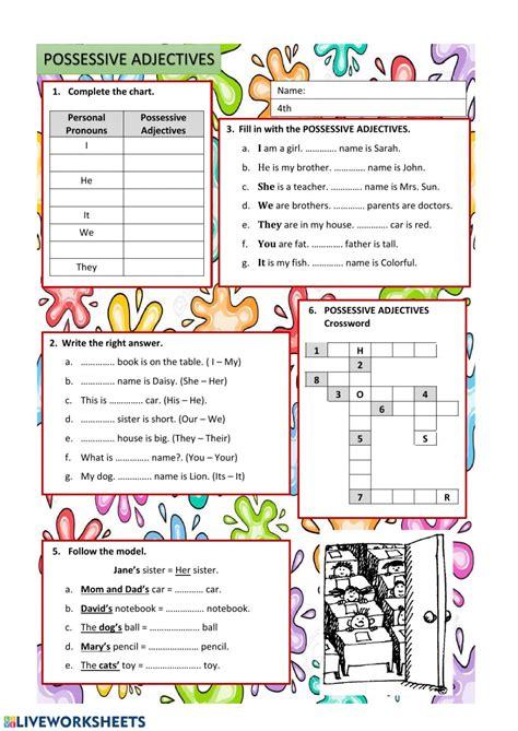 Possessive Adjectives worksheet for Grade 4
