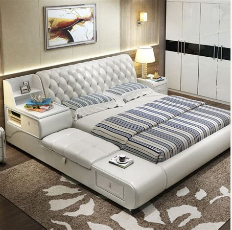 post modern real genuine leather bed / soft bed/double bed ...