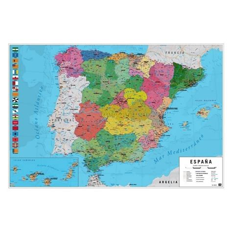 Poster Mapa España Fisico Politico   Nosoloposters.com