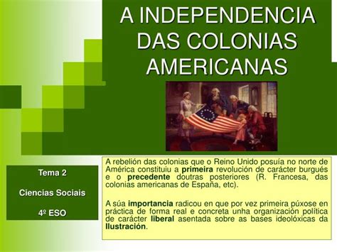 PPT   A INDEPENDENCIA DAS COLONIAS AMERICANAS PowerPoint ...