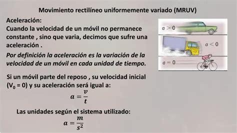 PPT   Movimiento rectilíneo uniformemente variado  MRUV ...