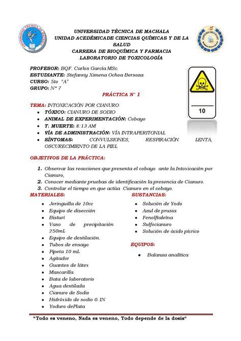 Practica 1 intoxicacion por cianuro by Stefanny Nenita   Issuu