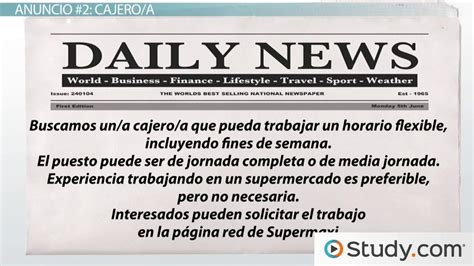 Practice Activity: Read Classified Ads in Spanish   Video ...