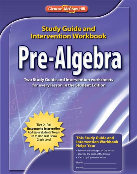 Pre Algebra, Study Guide & Intervention Workbook / Edition ...