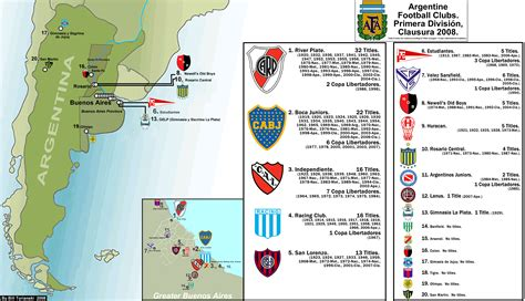 Primera Division Argentina. Clausura 2008 Map, with Clubs ...