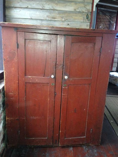Primitive Wood Antique Rustic Colonial Red Wardrobe ...