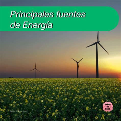 PRINCIPALES FUENTES DE ENERGÍA renovable y no renovable