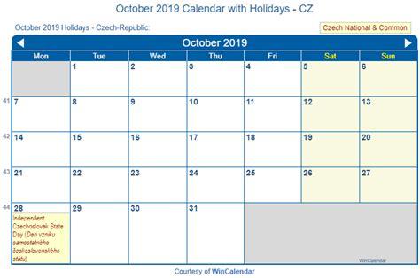 Print Friendly October 2019 Czech Republic Calendar for ...