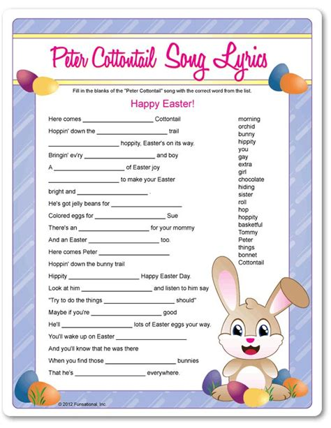 Printable Peter Cottontail Song Lyrics | Easter party ...