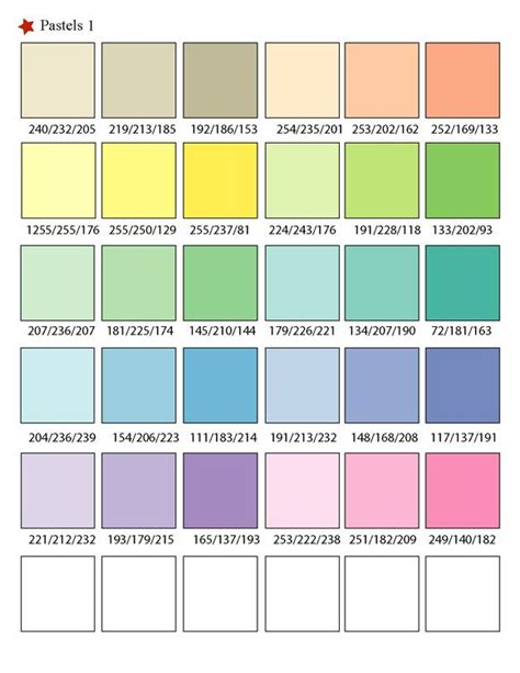 Printable RGB Color Palette Swatches   Color matching ...