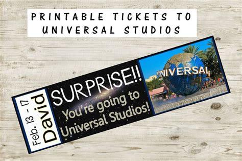Printable Ticket to Universal Studios with Custom Name ...