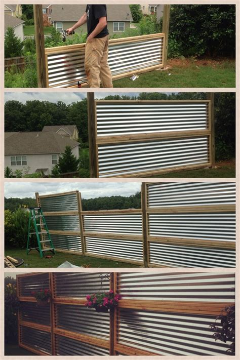 Privacy screen made from sheets of galvanized, corrugated ...