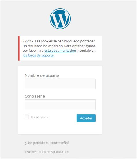 Problema al entrar en wordpress – Preguntas sobre WordPress