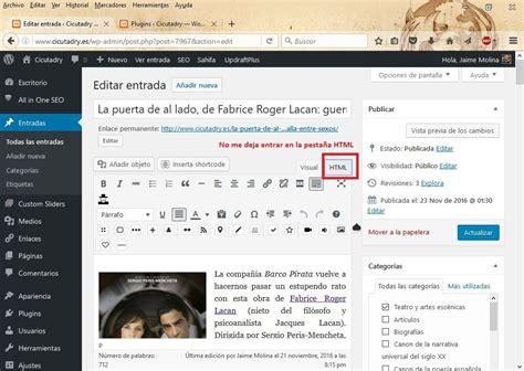 Problemas al editar entrada de Wordpress – Preguntas sobre