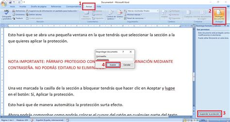 Proteger contra edición parte del texto de un documento Word.