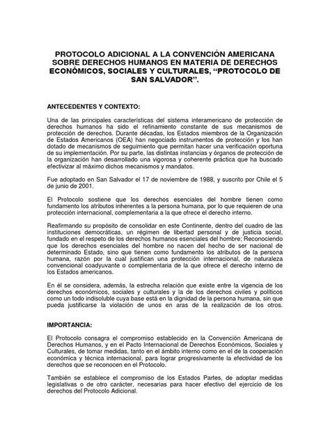 Protocolo Adicional a La Convención Americana Sobre ...