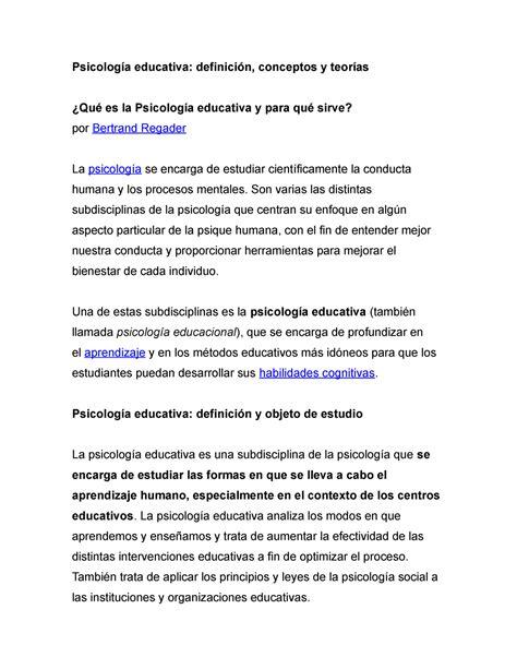 Psicología educativa conceptos   StuDocu