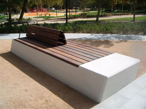 Public bench in concrete and wood  with backrest  # ...