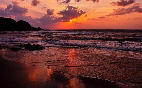 Puesta del sol del océano paisajes naturales mares playa ...