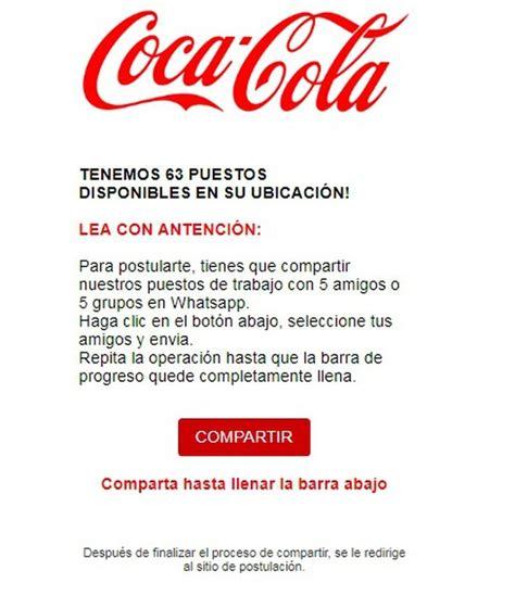 Puestos De Trabajo En La Empresa Coca Cola   Para Trabajadores