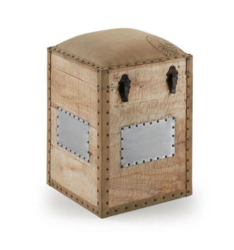Puf caja almacenaje estilo industrial madera   Decoración ...
