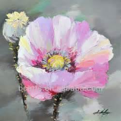 Puro a mano  pintura al óleo pintada en flor flores de ...