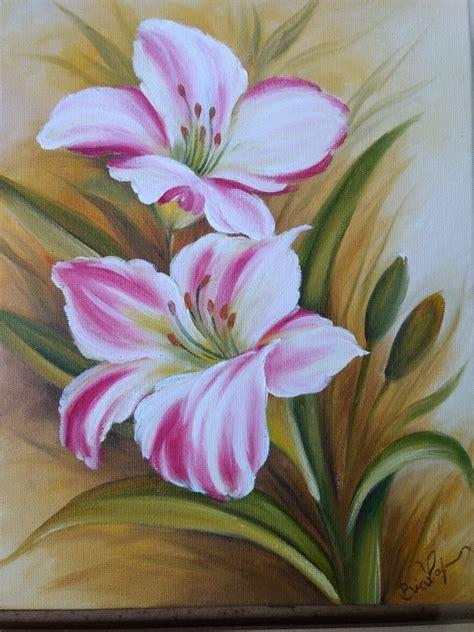 Quadro De Flores Pintadas A Óleo Sobre Tela Painel   R$ 45 ...