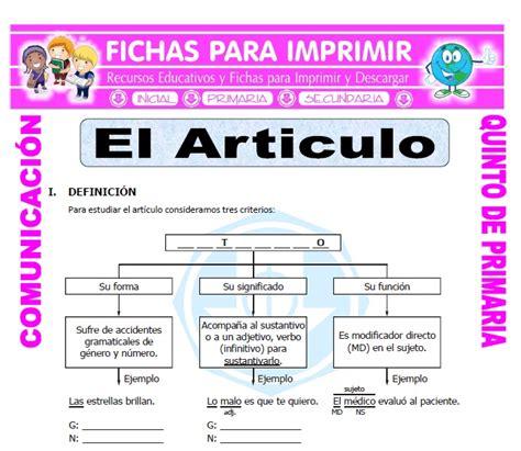 Que es un Articulo para Quinto de Primaria   Fichas para ...