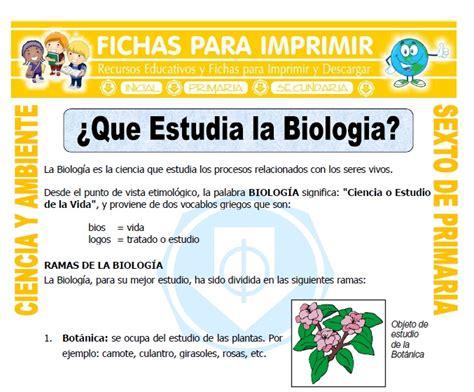 Que Estudia la Biologia para Sexto de Primaria   Fichas ...