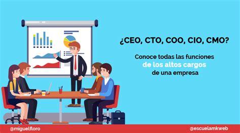 Qué significan las siglas CEO, CIO, CTO, COO y CMO en español