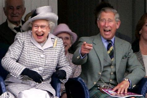 Queen Elizabeth II and the Prince of Wales enjoy a laugh ...