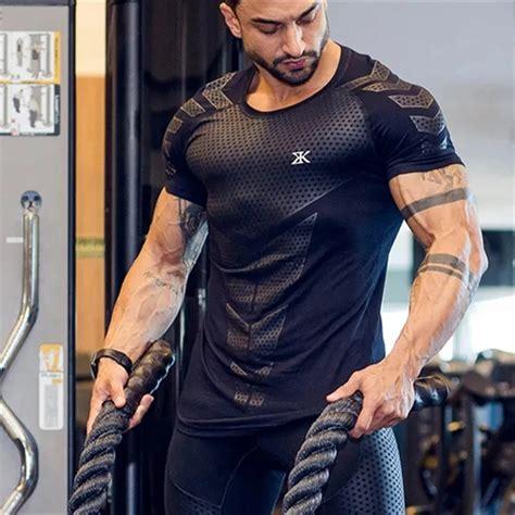 Quick dry Men Running Sport Skinny Short Tee Shirt – Hip ...