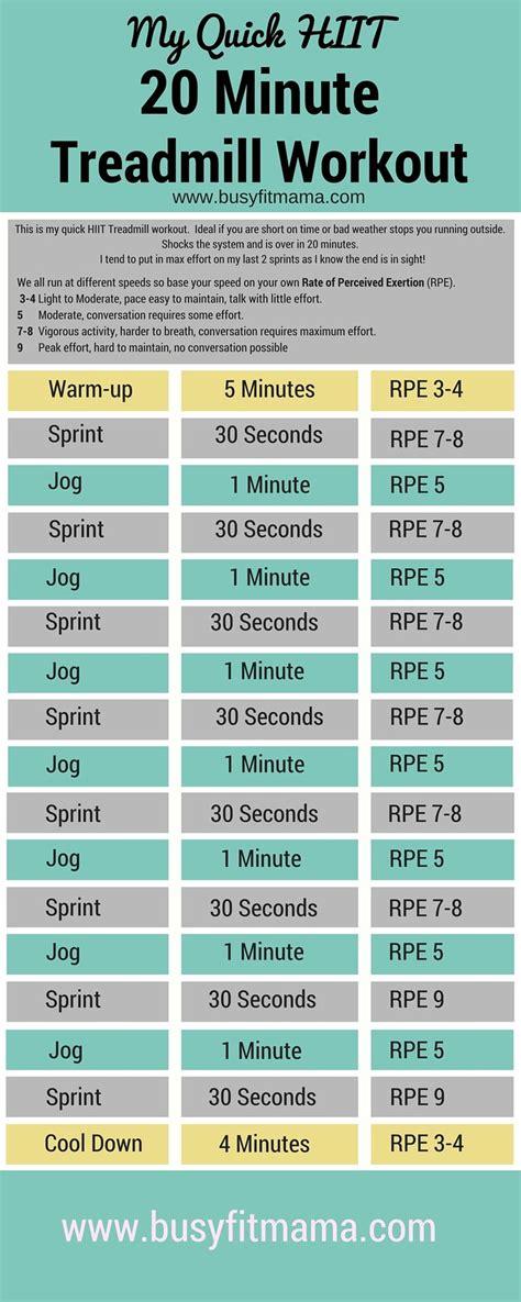 Quick HIIT 20 Minute Treadmill Workout   Hiit treadmill ...