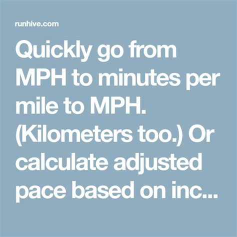 Quickly go from MPH to minutes per mile to MPH ...