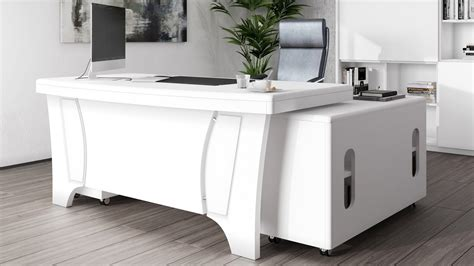 Quincy White Executive Desk with Return | Modern ...