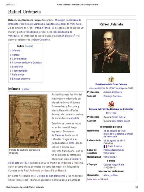 Rafael Urdaneta   Wikipedia, La Enciclopedia Libre ...