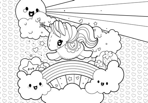 Rainbow Unicorn Scene Coloring Page   Download Free Vector ...