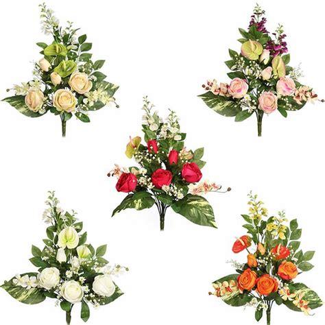 Ramo flores artificiales cementerio rosas y anthurium ...