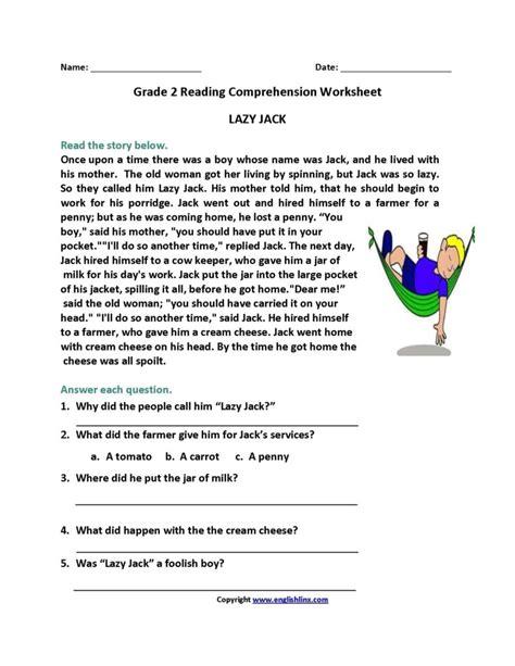 Reading Comprehension Worksheets for 2nd Grade ...