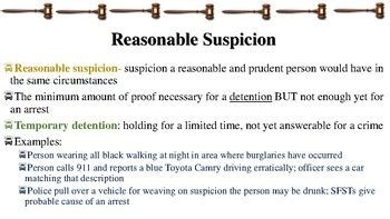 Reasonable Suspicion & Probable Cause Notes for Law ...