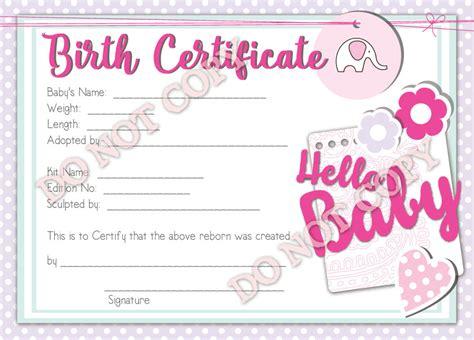 Reborn Doll Birth Certificate ~ Girl ~ Hello Baby