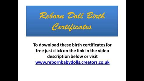Reborn Dolls Birth Certificates you can download a small ...