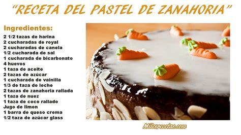Receta de pastel de Zanahoria   Como hacer Pastel de ...