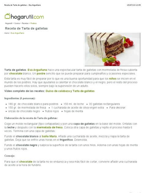 Receta de Tarta de galletas   Eva Arguiñano