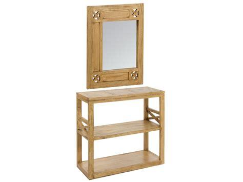 Recibidor con espejo estilo rústico de madera de acacia