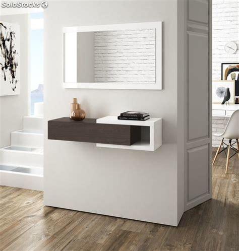 Recibidor mueble para entrada con cajón y espejo color ...