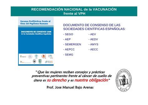 Recomendaciones Sociedades Cientificas Vacunacion Vph